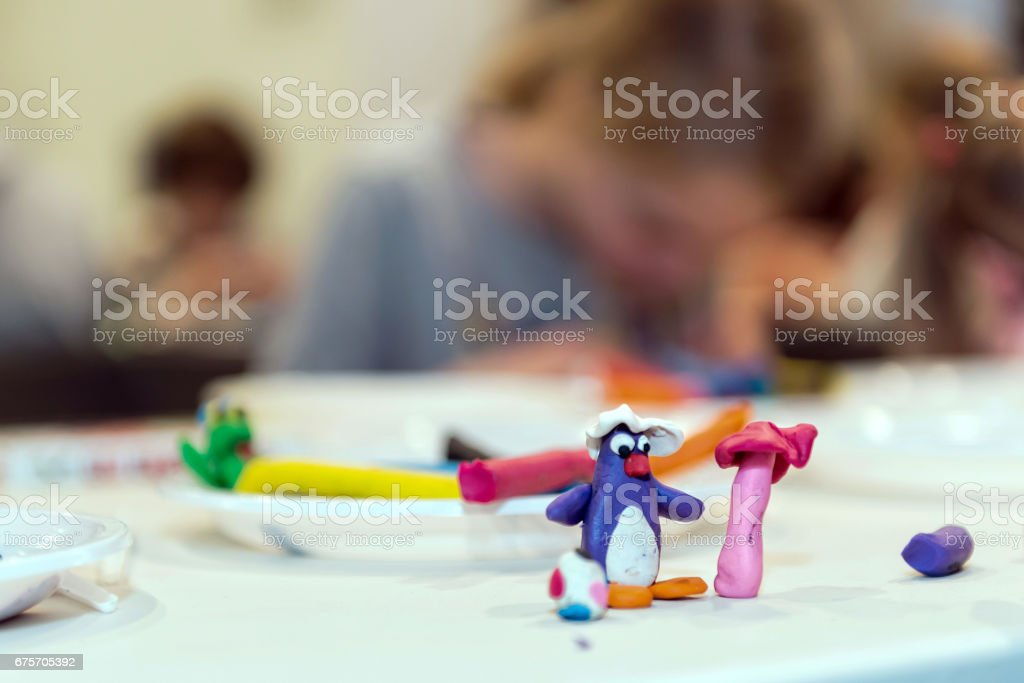 Ideas for children's creativity. Colored figures from plasticine. royalty-free stock photo