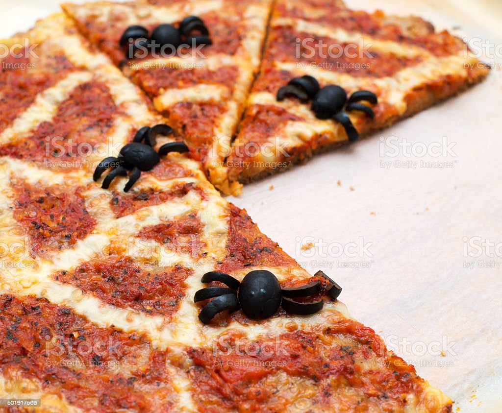 ideas for halloween pizza with olives spiders royalty free stock photo