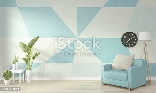 Ideas of light blue and white living room Geometric Wall Art Paint Design color full style on wooden floor.3D rendering