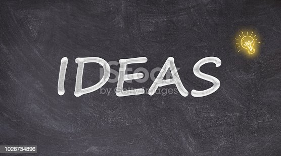 istock Ideas on blackboard with light bulb 1026734896