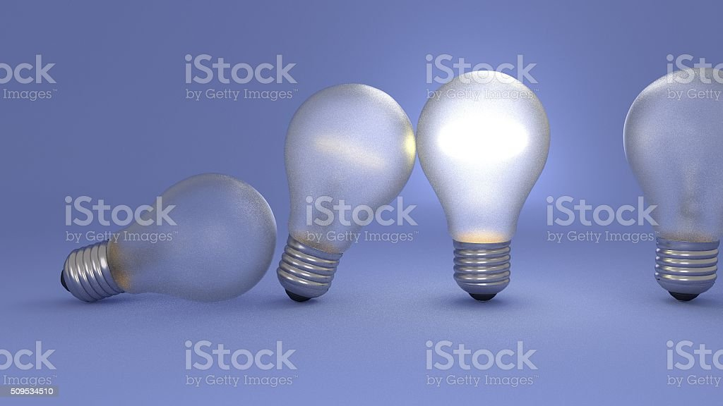 ideas passing through bulbs stock photo