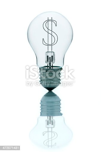 Light bulb with sign of dollar inside. Ideas about money or currency forex market