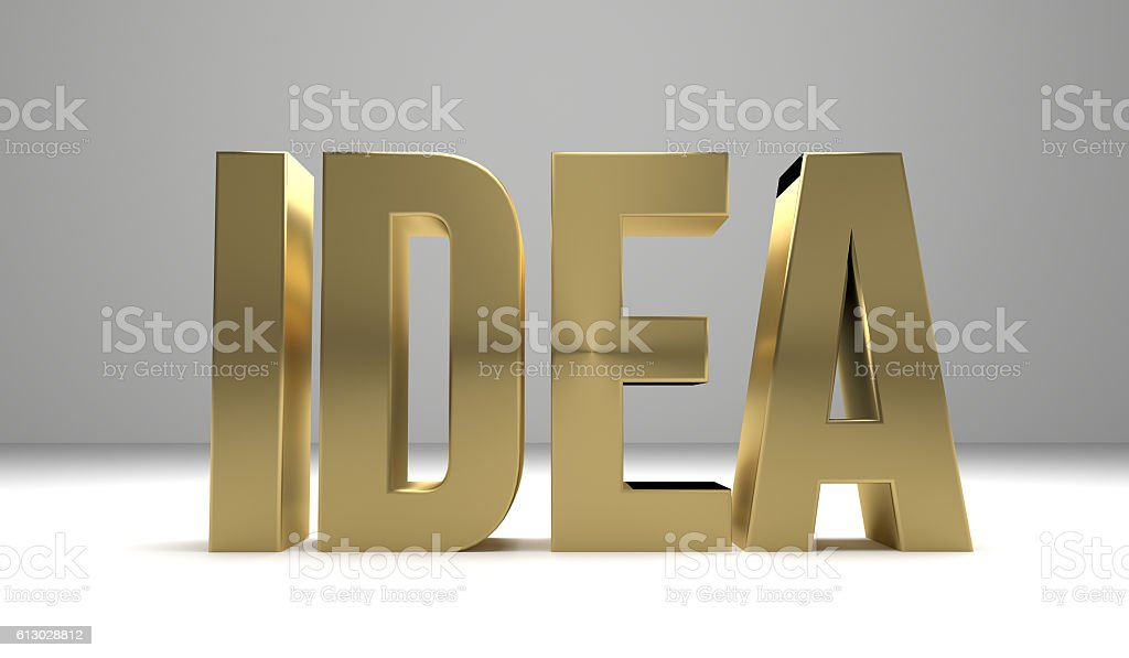Idee 3D Render golden Symbol stock photo