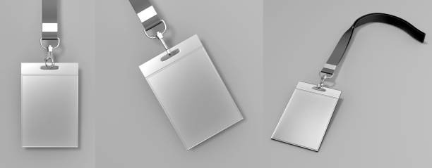 Identification blank plastic id cards and badge set with clasp and lanyards isolated on grey background 3d render illustration. Identification blank plastic id cards and badge set with clasp and lanyards isolated on grey background. security pass stock pictures, royalty-free photos & images