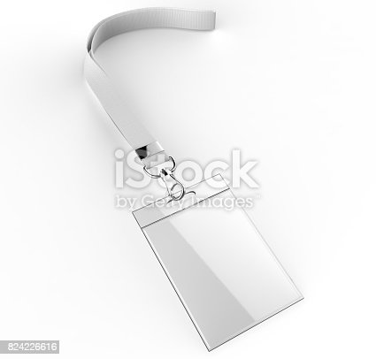 istock Identification blank plastic id cards set with clasp and lanyards isolated on grey background 3d render illustration. 824226616
