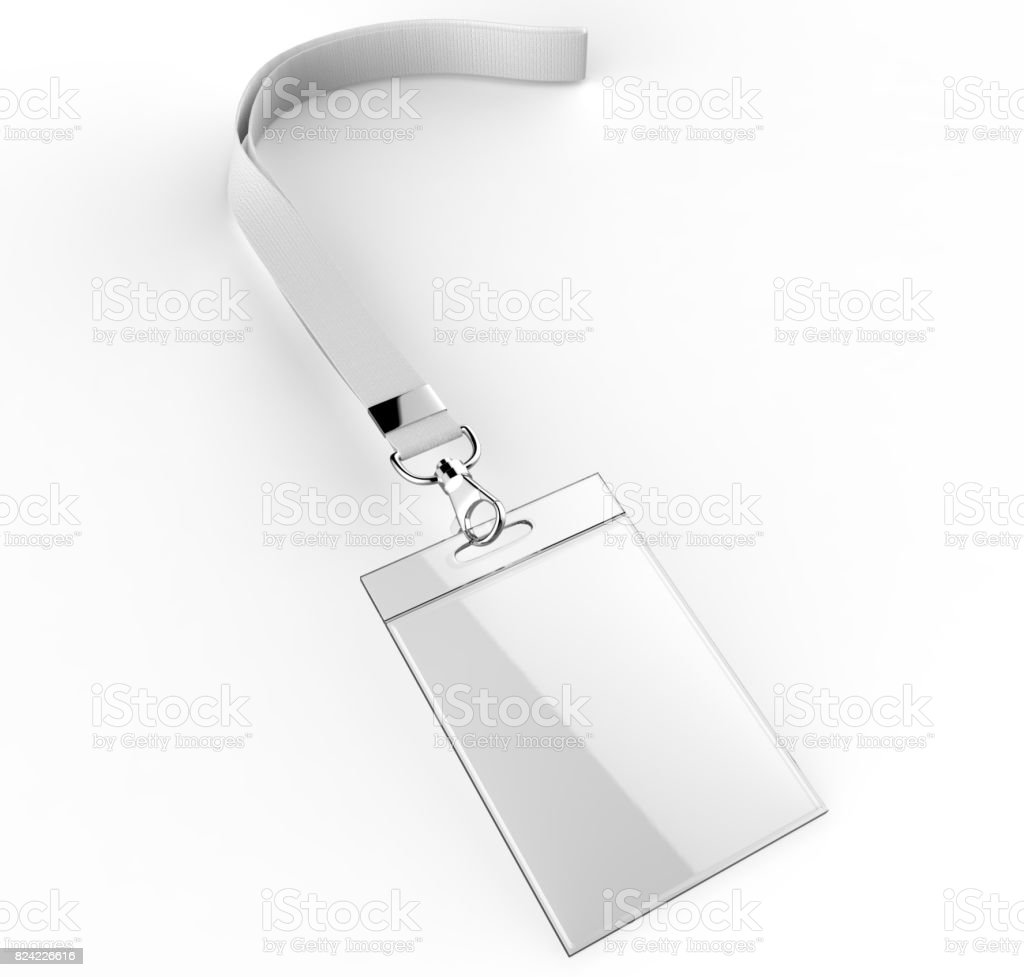 Identification blank plastic id cards set with clasp and lanyards isolated on grey background 3d render illustration. stock photo