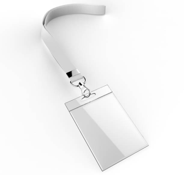 Tarjetas de identificación de plástico blanco de identificación conjunto con broche y cordones aislados en fondo gris ilustración de render 3d. - foto de stock