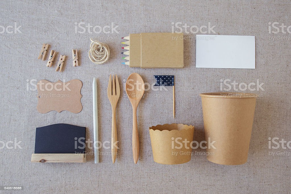 Identity branding eco mockup set, selective focus, toning stock photo