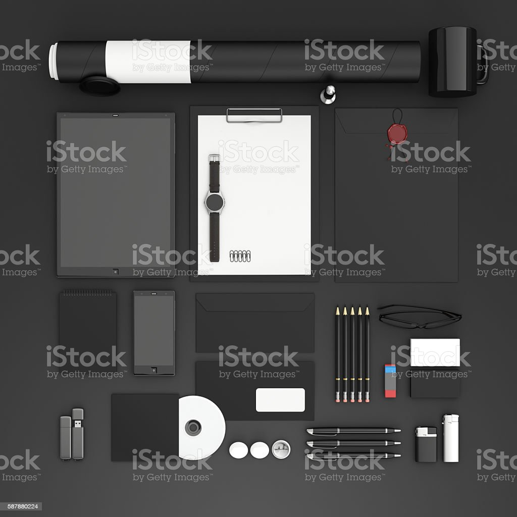 Identity mock up. Top view. stock photo