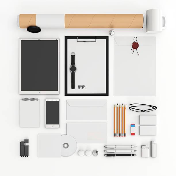 identity mock up. top view. - motionless in white stock-fotos und bilder