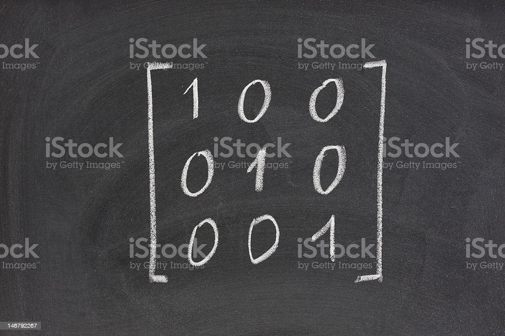 identity or unit matrix on blackboard royalty-free stock photo