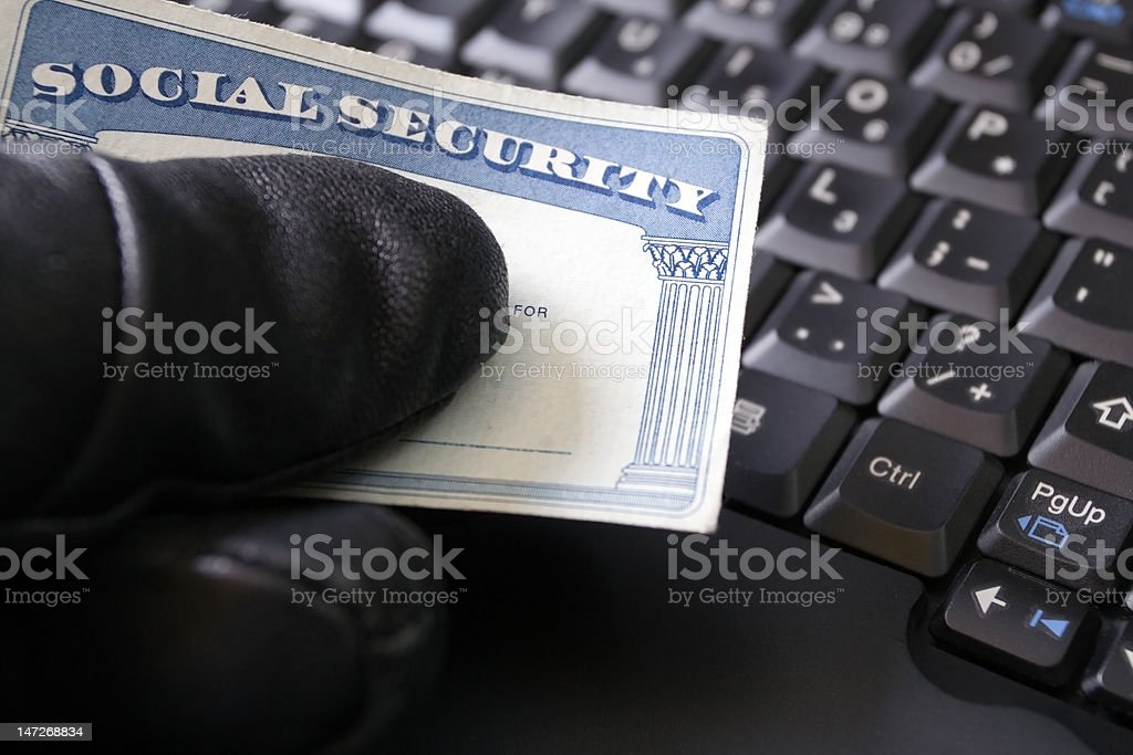 Identity theft and Social Security card stock photo