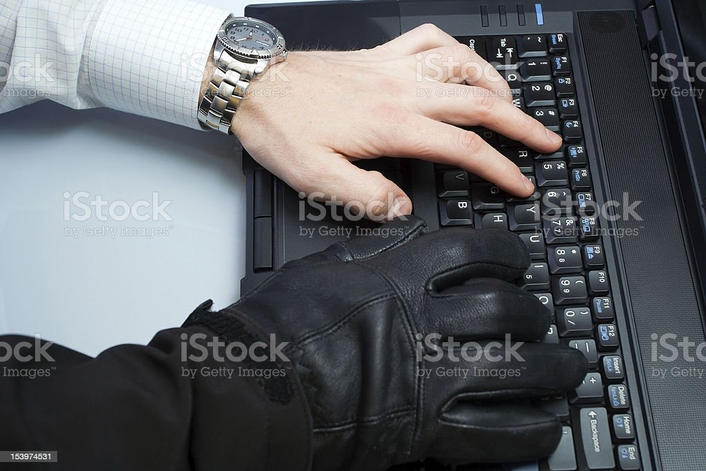 Identity theft hacker and businessman royalty-free stock photo