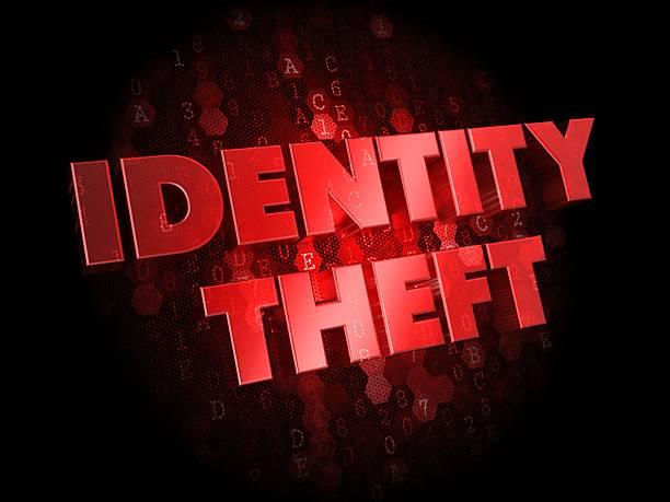 robo de identidad en oscuro fondo digital. - robo de identidad fotografías e imágenes de stock
