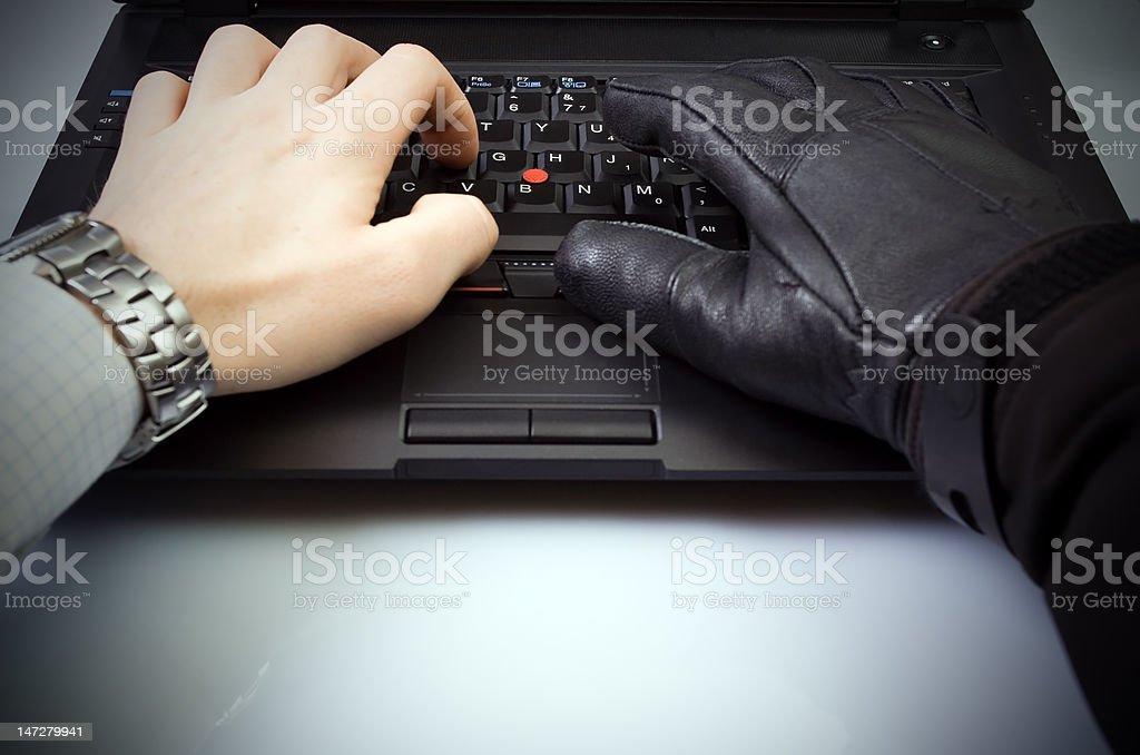 Identity theft on laptop royalty-free stock photo