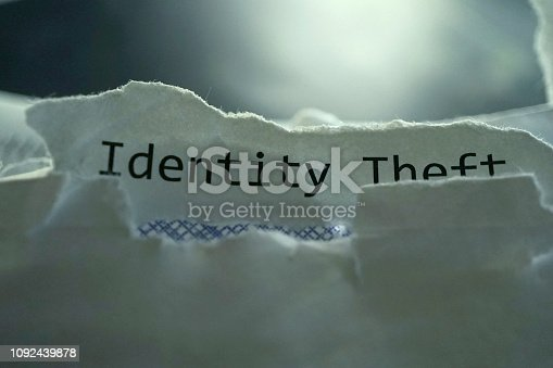 close up shot of identity theft word