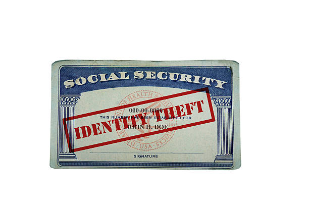 Identity Theft Social Security card stock photo