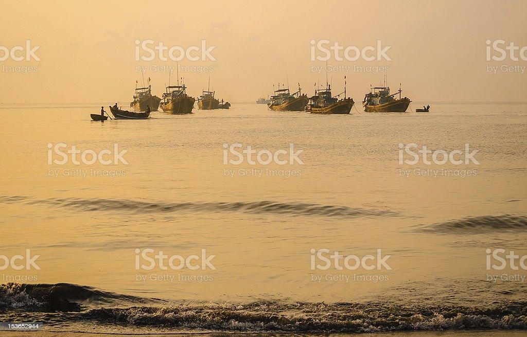 Idle boats in Phuoc Hai fishing wharf stock photo