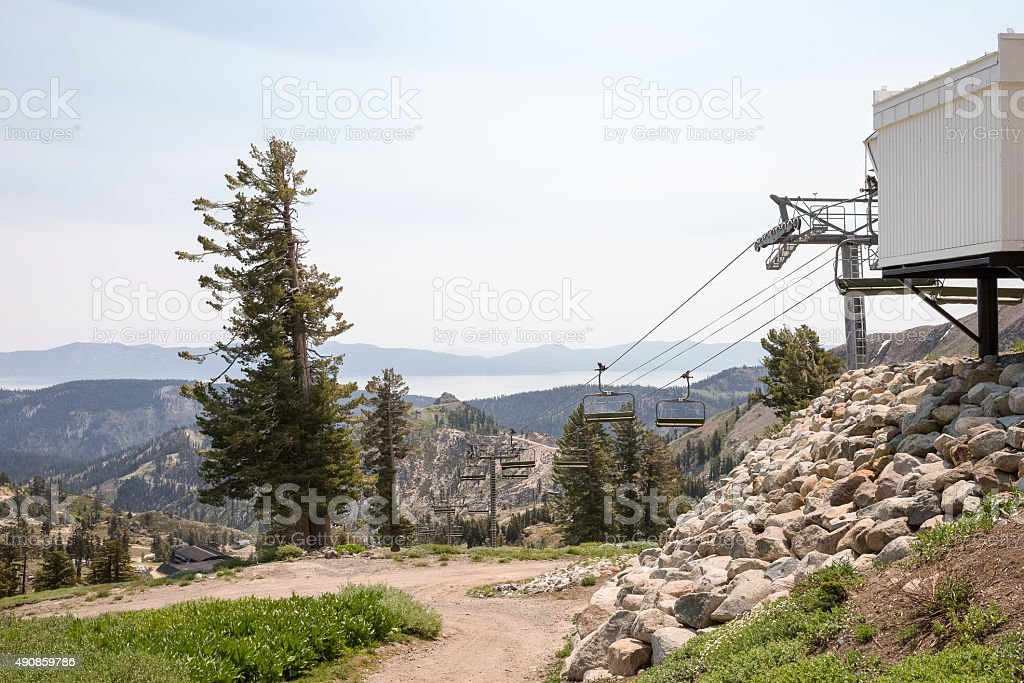 Idle Ski Lift in Summer stock photo