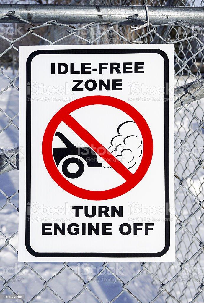 Idle-Free Zone, Turn Engine Off Sign stock photo