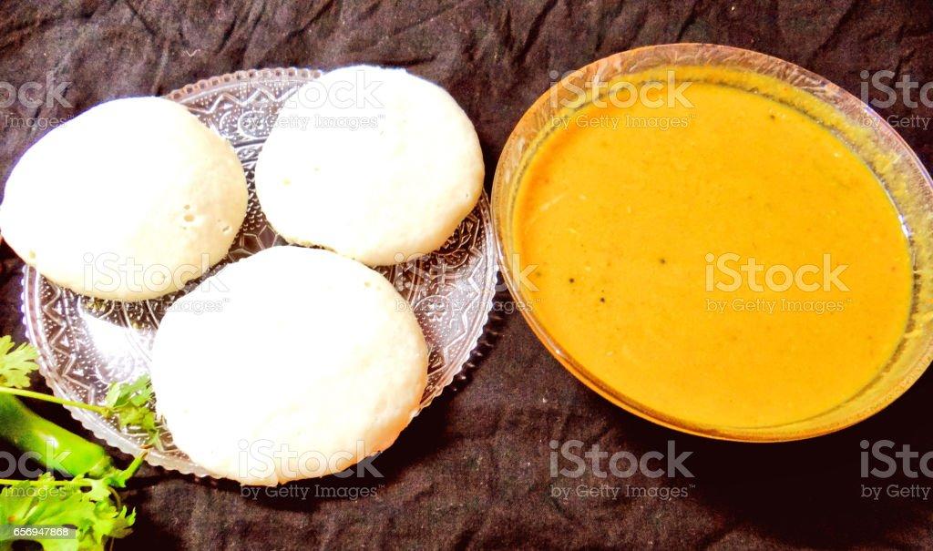 Idli sambar stock photo
