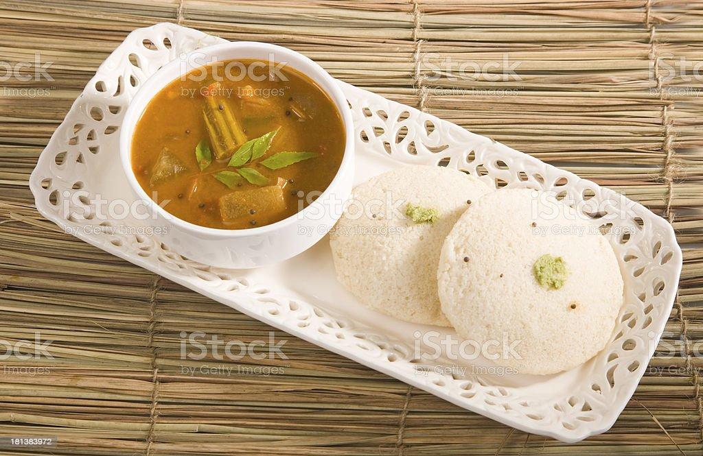 Idly Sambar with Coconut Chutney stock photo
