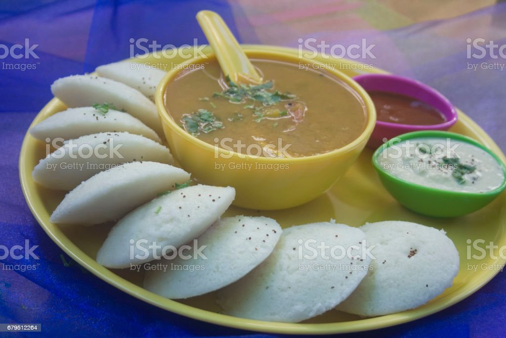 Idly (idli) with coconut chutney, sambar royalty-free stock photo