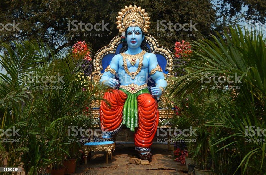 印度教神的偶像斯里蘭卡羅摩一直在運輸汽車為遊行或 sobha 巴庫在 Navami 節, 海德拉巴, 印度 免版稅 stock photo