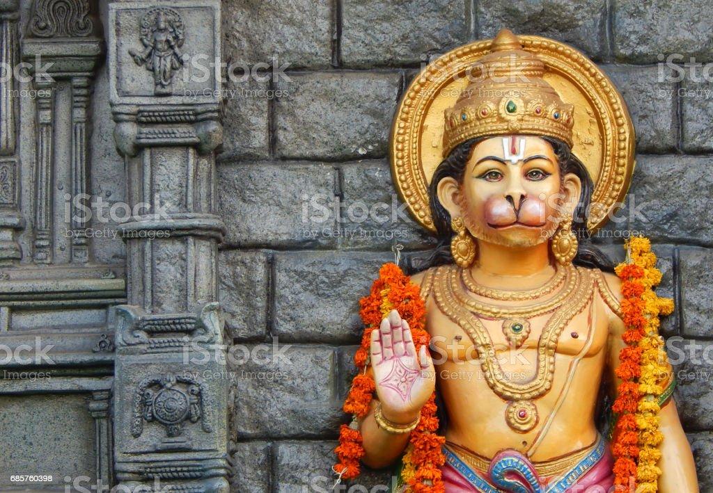 idol of Hindu God Hanuman idol on motor vehicle mobile temple, Hyderabad,India. zbiór zdjęć royalty-free