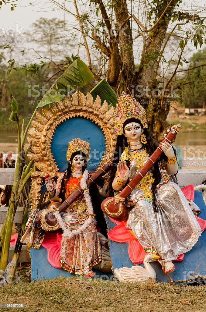 idol of hindu goddess saraswati, goddess of knowledge and wisdom stock photo