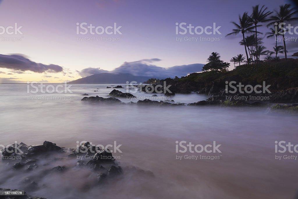 idylic maui coastline, twilight - hawaii, kihei royalty-free stock photo