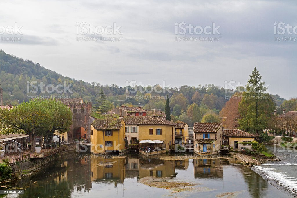 Idyll at the river Mincio stock photo