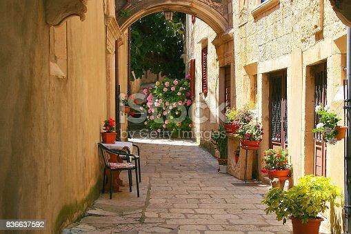 istock Idyllic Alley corner back yard, flower pots garden, beautiful Dubrovnik medieval old town cityscape, pastel colored facades city life, urban panorama and hydrangeas – Dalmatia, Croatia 836637592
