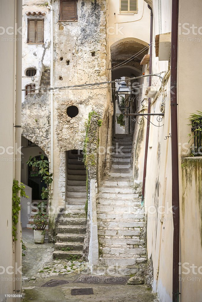 Idyllic alley with steep staircases in Sperlonga,Lazio Italy royalty-free stock photo