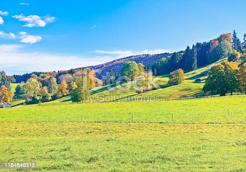 Idyllic alpine landscape in autumn with pastureland and rolling hills