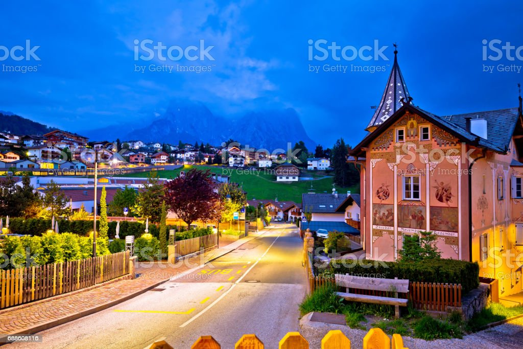 Idyllic Alpine town of Kastelruth evening view, Trentino Alto Adige region of Italy stock photo