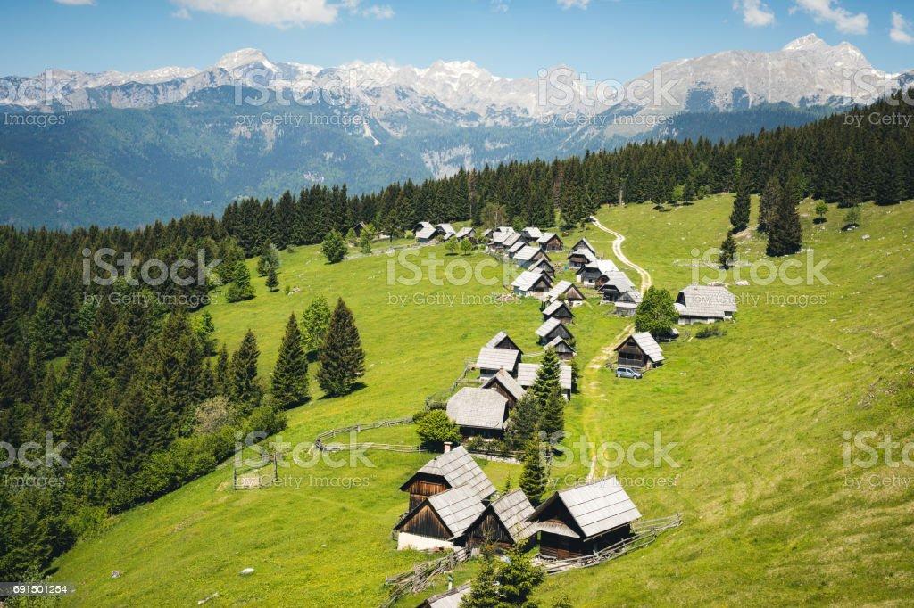 Idyllic Alpine Village In Slovenia stock photo