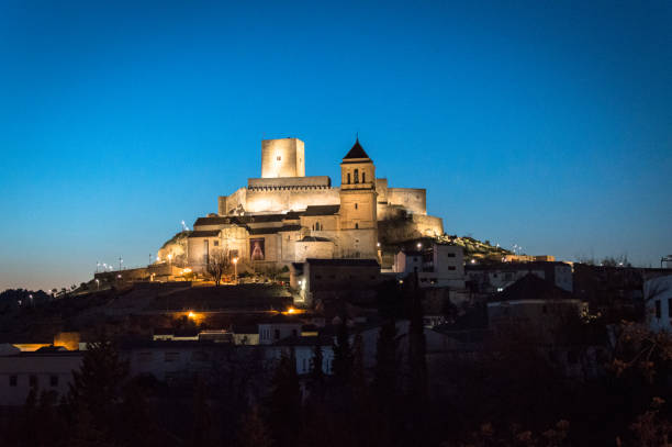 Idyllic Andalusian mountain village Alcaudete in Spain by night stock photo