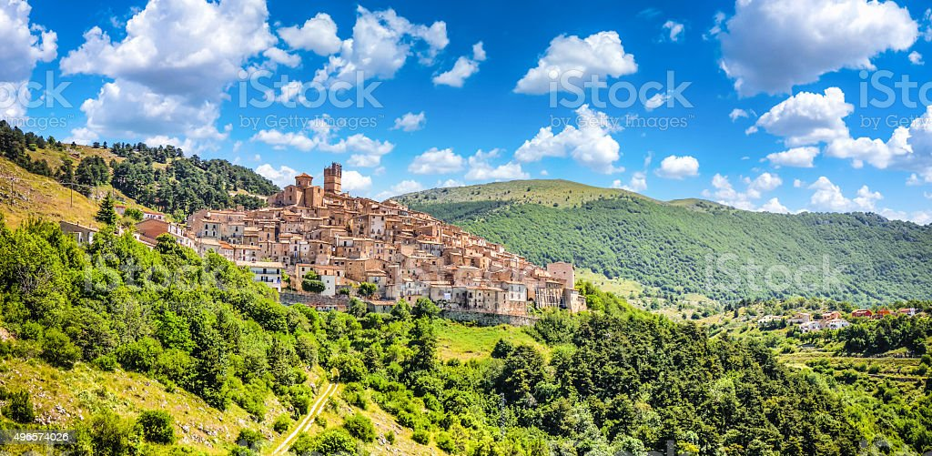Idyllic apennine mountain village Castel del Monte, L'Aquila, Abruzzo, Italy stock photo