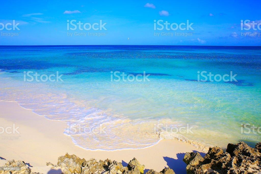 Idyllic Arashi tropical turquoise Beach, Aruba – sunny blue lagoon, summer paradise, Dutch Antilles, Caribbean Blue sea stock photo