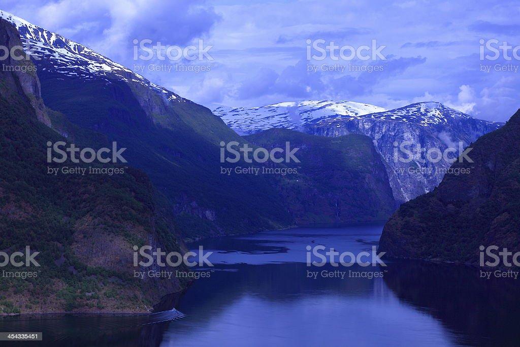 Idyllic Aurland fjord at dramatic sky dusk, Norway, Scandinavia stock photo