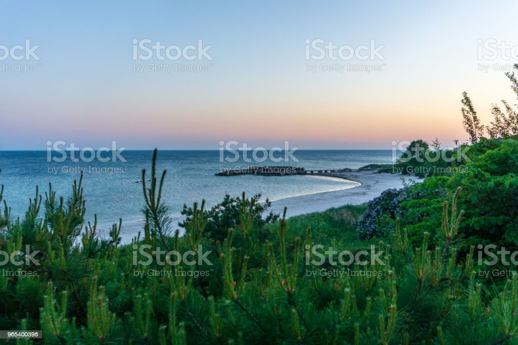 Idyllic Baltic sea with a little port in Bornholm, Denmark on a day in summer royalty-free stock photo