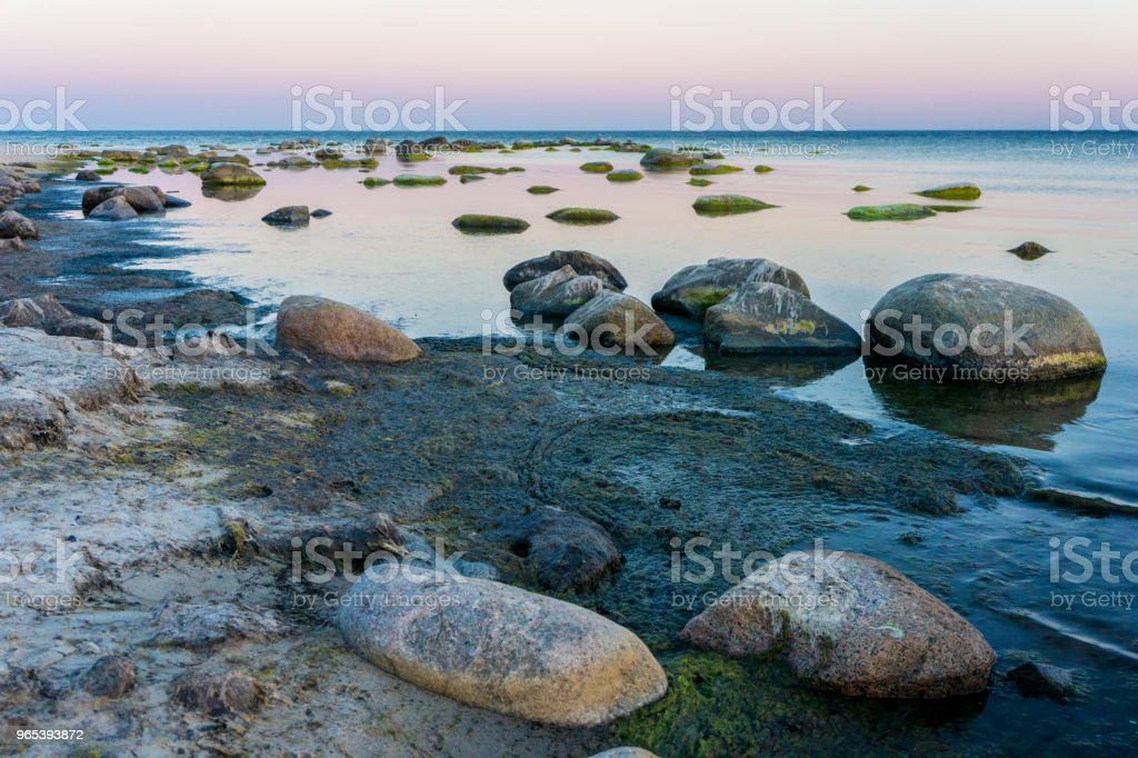 Idyllic Baltic sea with rocks in Bornholm, Denmark on a day in summer zbiór zdjęć royalty-free