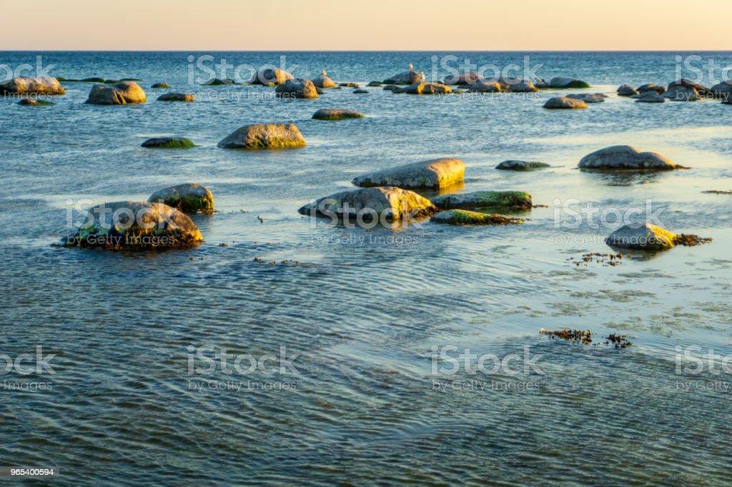 Idyllic Baltic sea with rocks in Bornholm, Denmark on a day in summer zbiór zdjęć royalty-free