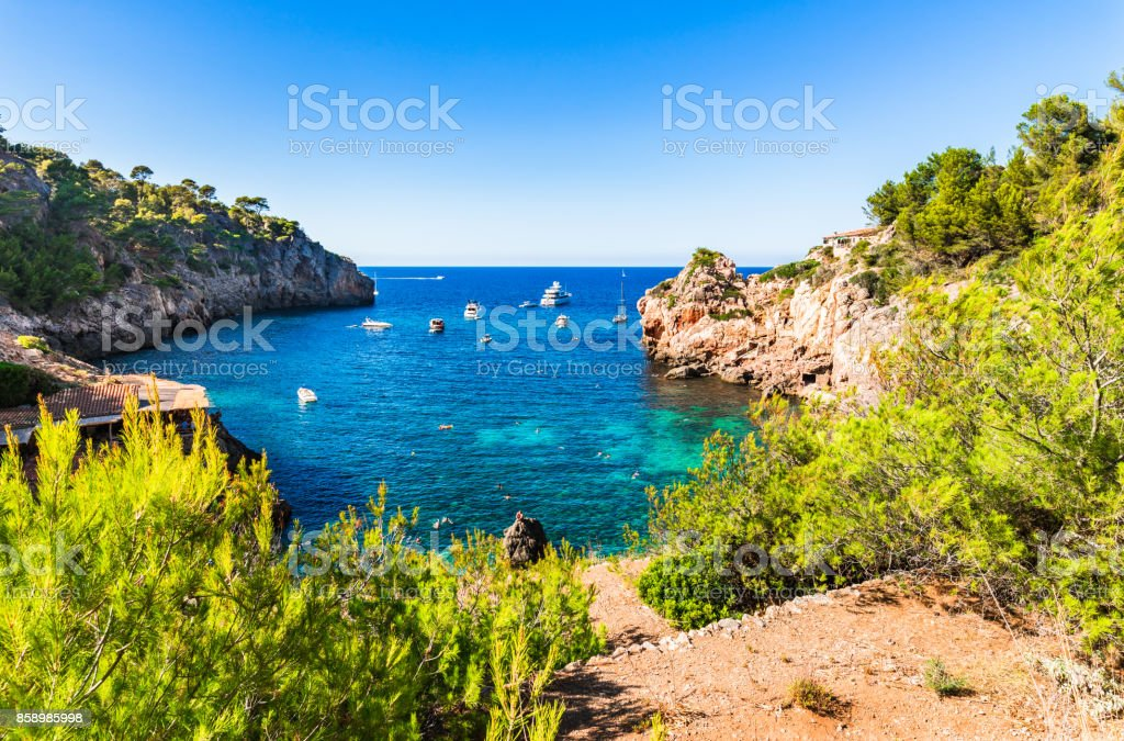 Idyllic bay of Cala Deia, Majorca Spain, Balearic Islands stock photo