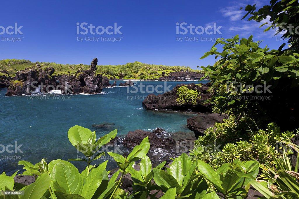idyllic bay with blue ocean, maui, hawaii stock photo