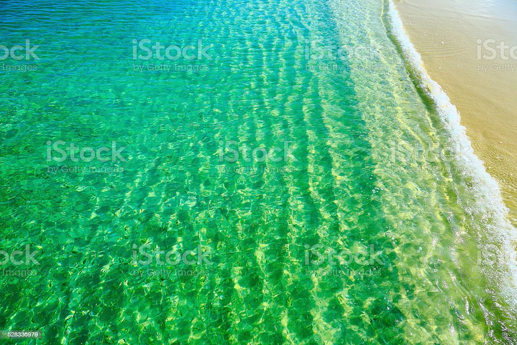 Idyllic Beach and see trough Caribbean Sea, Aruba stock photo