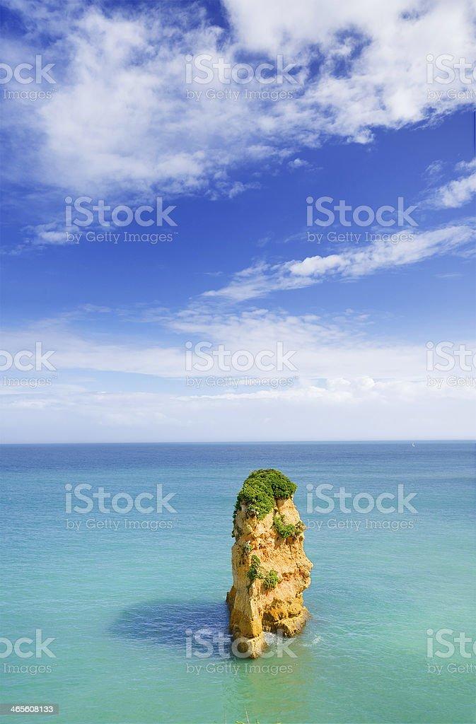 Idyllic beach landscape at Lagos, Algarve, (Portugal) royalty-free stock photo