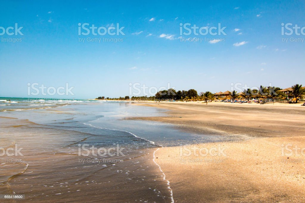 Idyllic beach near the Senegambia hotel strip in the Gambia, West Africa stock photo