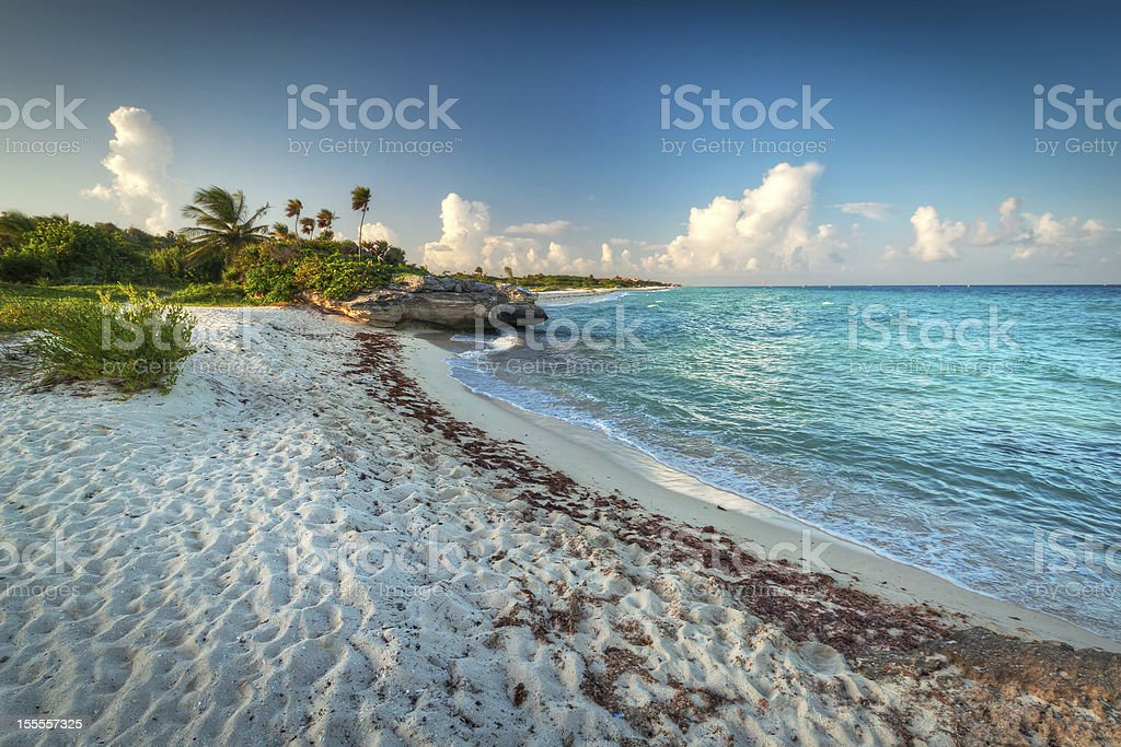 Idyllic beach of Caribbean Sea in Playa del Carmen stock photo